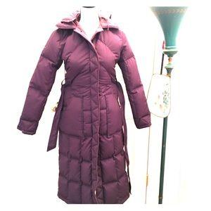 Purple pink puffer long with hood winter jacket